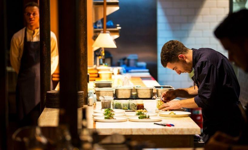 Chef working in kitchen