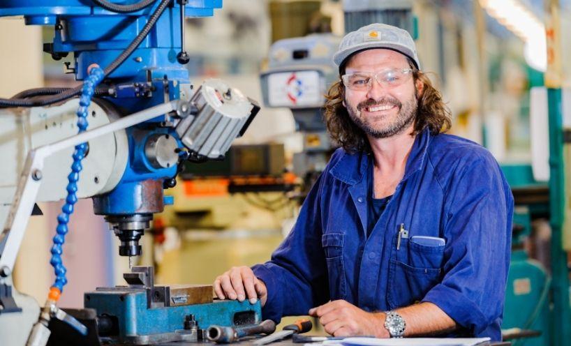 Engineering tradie in workshop