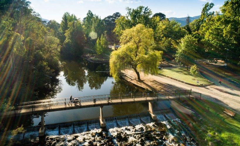 Parklands with bridge over water