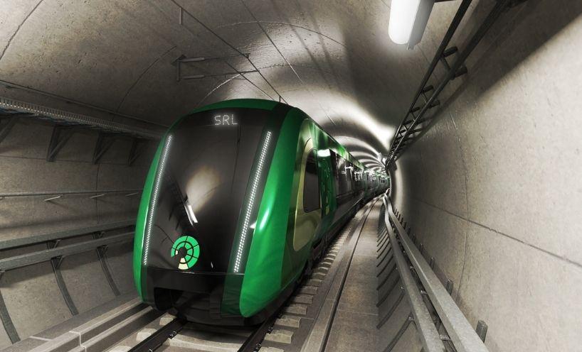 Train in underground tunnel