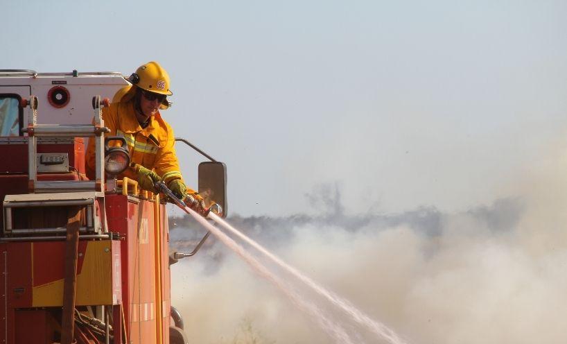 Firefighter on truck