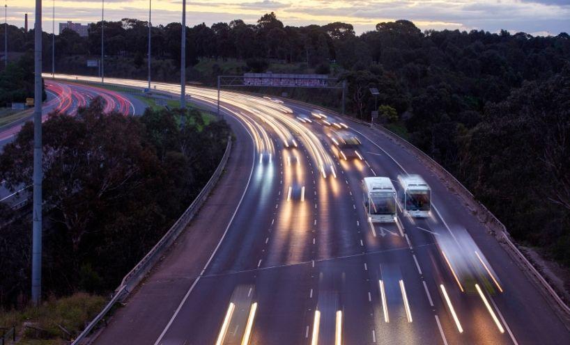 Freeway traffic at dusk